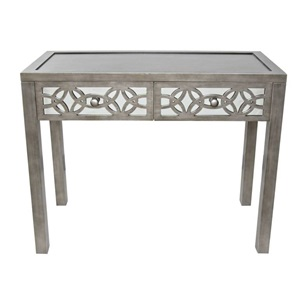 "30.25""H Glam Slam Mirrored 2-Drawer Console Table"