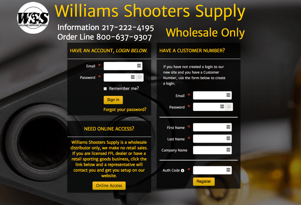 Williams Shooters Supply: Closed B2B eCommerce Website