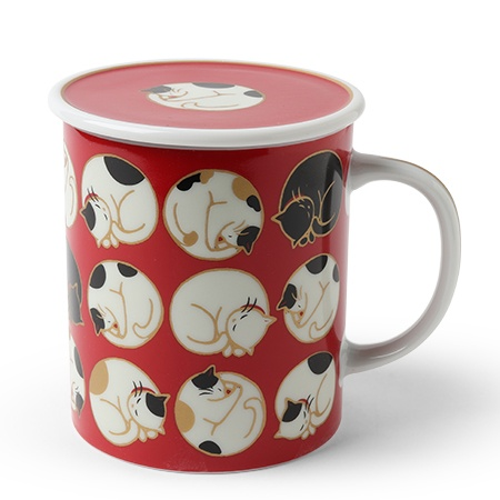 Sleepy Cat 8 Oz. Lidded Mug - Red