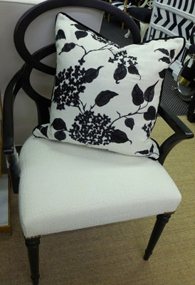 Black and White Leaf Print Pillow