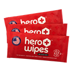 Hero Wipes - Individually Wrapped Wipes - 1 Case (250 Packs)