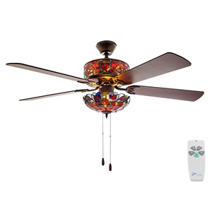 "52""W Tiffany Style Stained Glass Magna Carta Ceiling Fan"