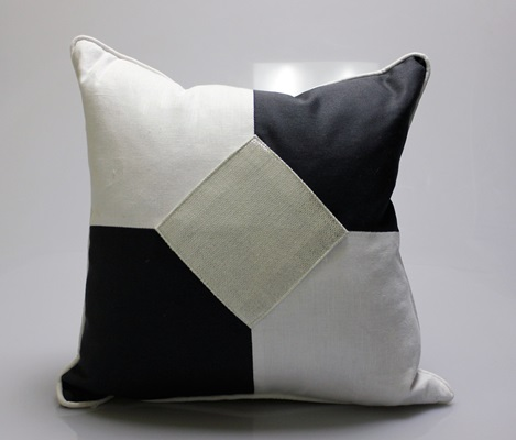 Black, White & Silver Diamond Pillow