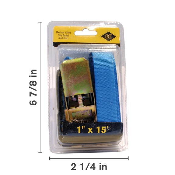 "1"" X 15' Ratchet Strap, Blue-BOOK"