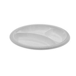 "10.25"" WHITE 3 COMPARTMENT PLASTIC PLATE,"