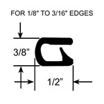 "1/8"" to 3/16"" Pinch Top Shallow Edge Trim Seal"