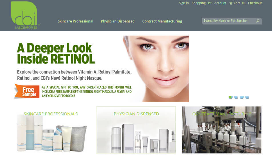 CBI Skin Care live on Nomad erpCommerce