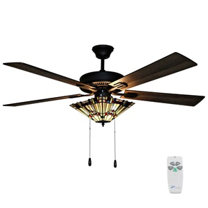 "52""W Orson Craftsman Stained Glass 5-Blade Ceiling Fan with Remote Control"