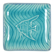 "Turquoise Blue 4.5"" Sq.  Fish Plate"