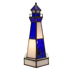 "10.4""H Camden Stained Glass Lighthouse Accent Lamp"