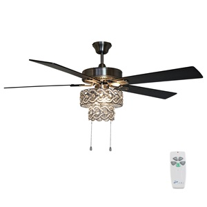"52""W Olivia 5-Blade Beaded Braid Wedding Band LED Ceiling Fan with Remote Control"