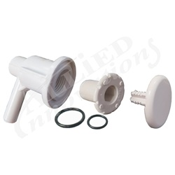"AIR INJECTOR ASSEMBLY: LOW PROFILE,  3/8""SB, ELBOW STYLE, WHITE"