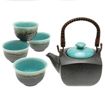 Tea Set Turquoise Sky Square