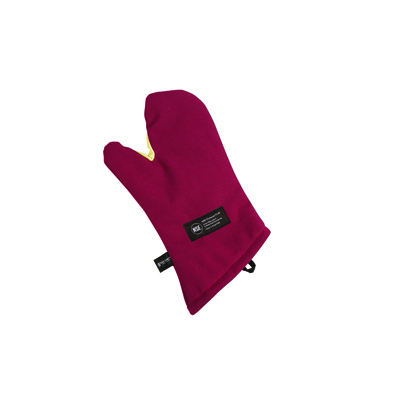 "San Jamar KT0218 Cool Touch 17"" Flame Red Conventional Oven Mitt with Kevlar"