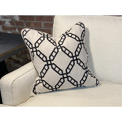 Off White Fabric w/ Embroidered Black Trellis Pattern Down Pillow