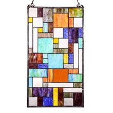 "23""H Stained Glass Mod Collage Window Panel"