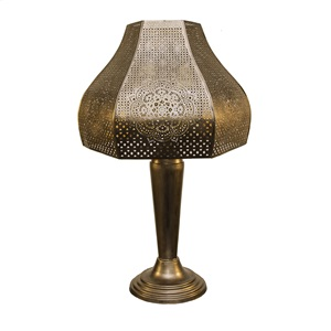 "23.75""H Moroccan Punched Metal Outdoor Solar Table Lamp"