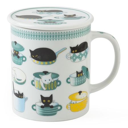 CAT LIFE 8 OZ. LIDDED MUG - GREEN