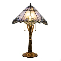 "24.75""H Stained Glass Victorian Crystal Lace Table Lamp"