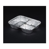 Durable Packaging 3-Compartment Oblong Aluminum Containers w/Foil Board Lids