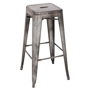 96251 ANT. SILVER METAL BAR STOOL