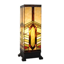 "17""H Stained Glass Mission Style Stone Mountain Pillar Table Lamp"
