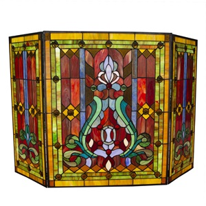 "28""H Stained Glass Fleur de Lis Fireplace Screen"