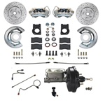 1971-73 Power Disc Brake Conv. Kit - Drilled  /Slotted Rotors Auto Trans.