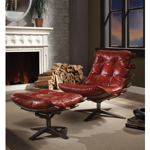 59531 RED 2PC PK CHAIR & OTTOMAN