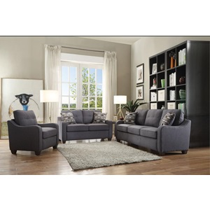 53791 GRAY LOVESEAT W/2 PILLOWS
