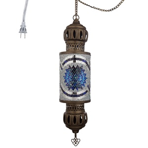 "22""H Turkish 1-Light Mosaic Cylinder Pendant"