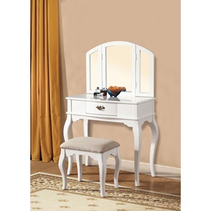 90101 WHITE FINISH VANITY AND STOOL