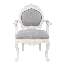 "37.5""H Regal Elegance Handcarved Wood & Linen Armchair"