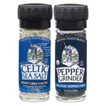 Large Grinders with Light Grey Celtic ® Salt and Organic Peppercorns