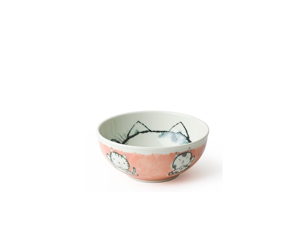 "Fortune Cat 6.25"" Bowl Pink"
