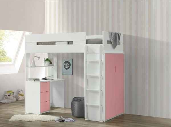 PINK TWIN LOFT BED