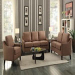53766 BROWN FABRIC LOVESEAT