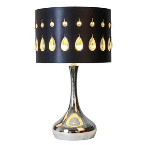 "21""H Silver Crystal Noir Table Lamp"