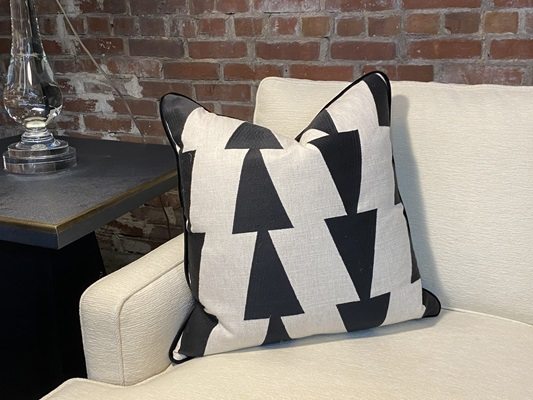 Taupe Linen Fabric with Black Embroidered Triangle Pattern Down Pillow