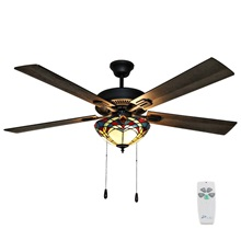 "52""W Gable Prairie 5-Blade Stained Glass Ceiling Fan with Remote Control"