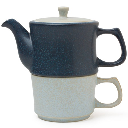 Ishi Teapot & Mug Set Gray & Blue