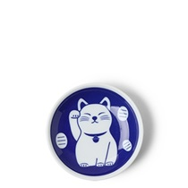 "Blue Fortune Cat 3.75"" Sauce Dish"