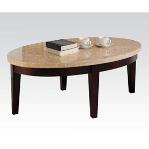 17142B WH MARBLE TOP COFFEE TABLE