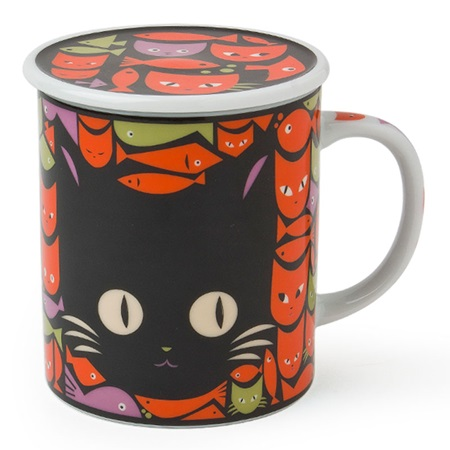MASK CAT & FISH 8 OZ. LIDDED MUG - BLACK & ORANGE