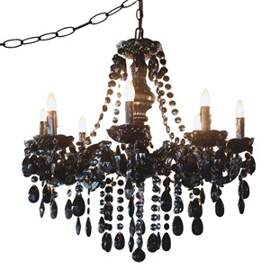 "24.5""H Glam Dame Plug-In Swag Jeweled Chandelier"