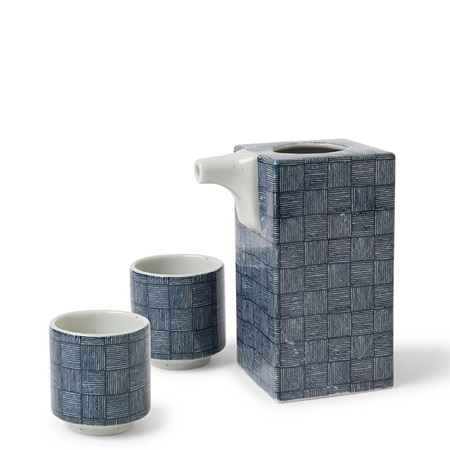 Sake Set Blue Basket Weave