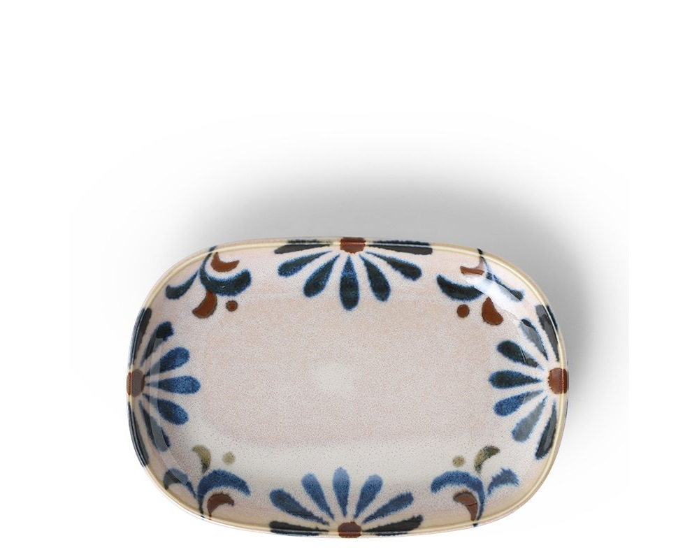 Rustic Blue Floral Rectangle Plate