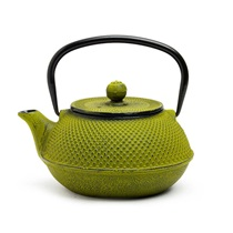 GREEN HOBNAIL CAST IRON TEAPOT - 30 oz.