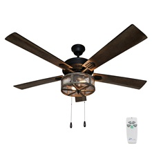 "52""W Dixsie 5-Blade Woodgrain Caged Farmhouse LED Ceiling Fan with Remote Control"