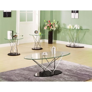 80752 CHROME/BK SOFA TABLE W/GL TOP